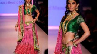 Amyra Dastur walk the ramp at India International Jewellery Week 2014