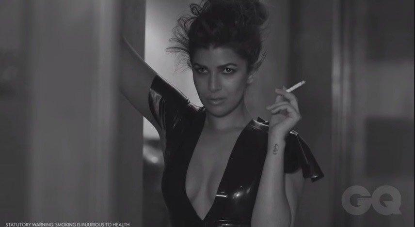 Nirmat Kaur smoking cigerratte in GQ Magazine photoshoot