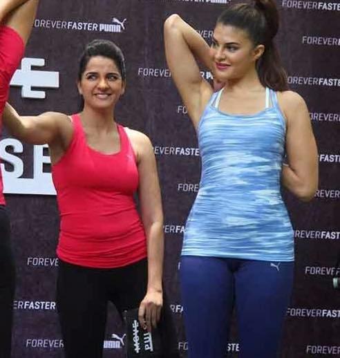 Jacqueline Fernandez with Shruti Seth at puma event