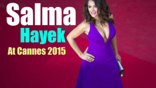 Salma Hayek in Purple Gucci Dress on Red Carpet at Cannes 2015