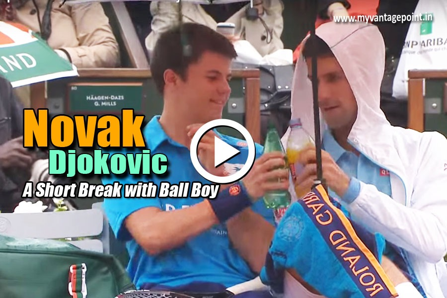 Novak Djokovic Break With Ball Boy, Novak Djokovic in rain with ball boy, Novak Djokovic ball boy incident video, Novak Djokovic kind side video, Novak Djokovic best video, Novak Djokovic shares drinks with ball boy video