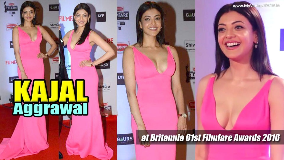 Kajal Aggrawal at filmfare, Kajal Aggrawal in pink dress, Kajal Aggrawal sexy photos in pink dress, Kajal Aggrawal hottest photos