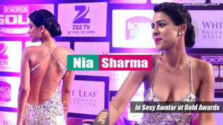 Nia Sharma aka Roshni from Jamai Raja at The Gold Awards in Metallic Kaftan Style Gown