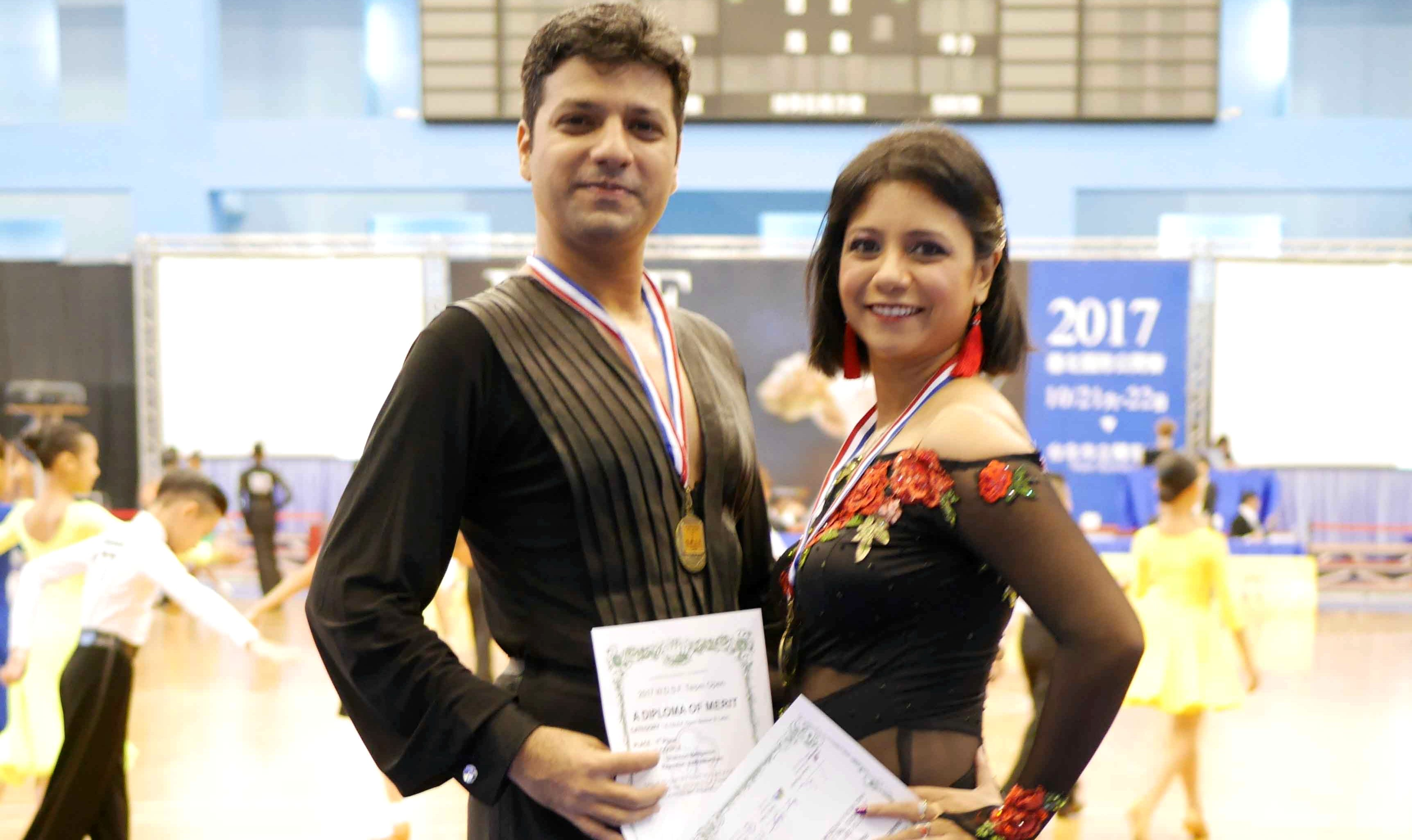 Rajeswari Vaidyanathan and Shannon Benjamin won Gold medal in Asia Open Latin Dance Championship 1