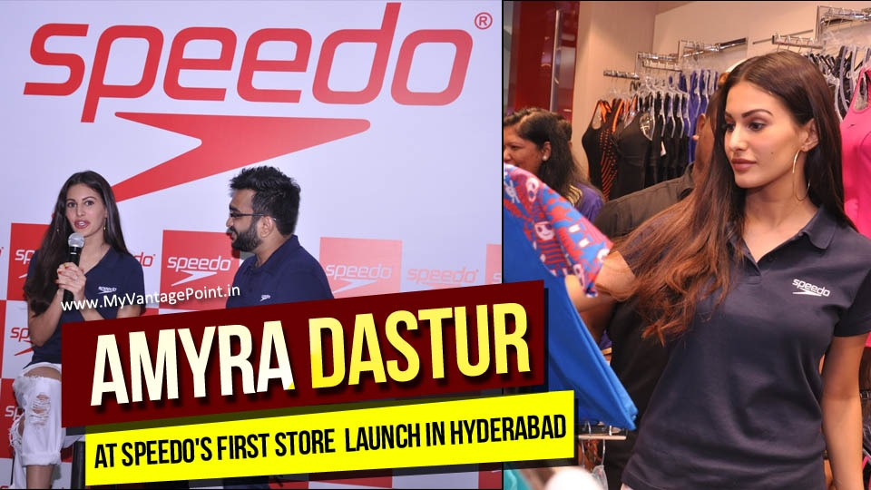 Speedo Launches its First Store in Hyderabad with Actress and Fitness Enthusiast Amyra Dastur. The actress was seen picking her favourite swimming gear at the Speedo store and interacting with fans.