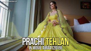 Prachi Tehlan dons yellow as she begins with Mamangam promotions; seeks blessings at a temple