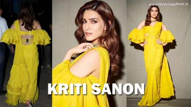 Kriti Sanon at The Kapil Sharma Show for Promotion of Panipat with Sanjay Dutt in Yellow Saree Designed by Manish Malhotra